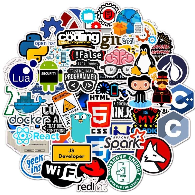 50 Uds programador programa lenguaje papelería pegatinas pegatina para teléfono portátil divertidas pegatinas de grafiti pegatinas chico juguete