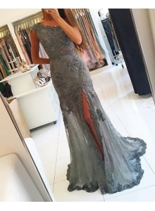 Grey Evening Dresses Mermaid Lace Appliques Split Beaded Prom Gown for girl Elegant Custom Made Sweep Train robe soirée longue