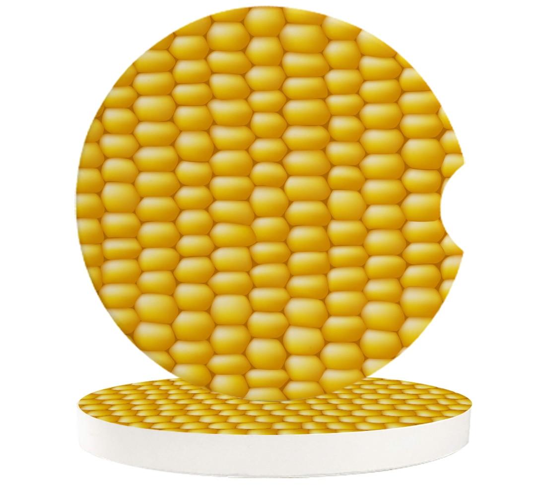 2/4/6 pcs Yellow Corn Food Texture Car Cup Holder Coaster Home Decor Accessories Drink Mug Mat Ceramic Car Coasters