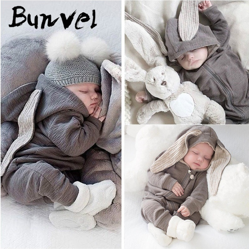 Mono recién nacido bunvel de verano para niña, mono recién nacido de una pieza, pijama de bebé para niños, Orejas de conejo, mono bonito de primavera, trajes de 5