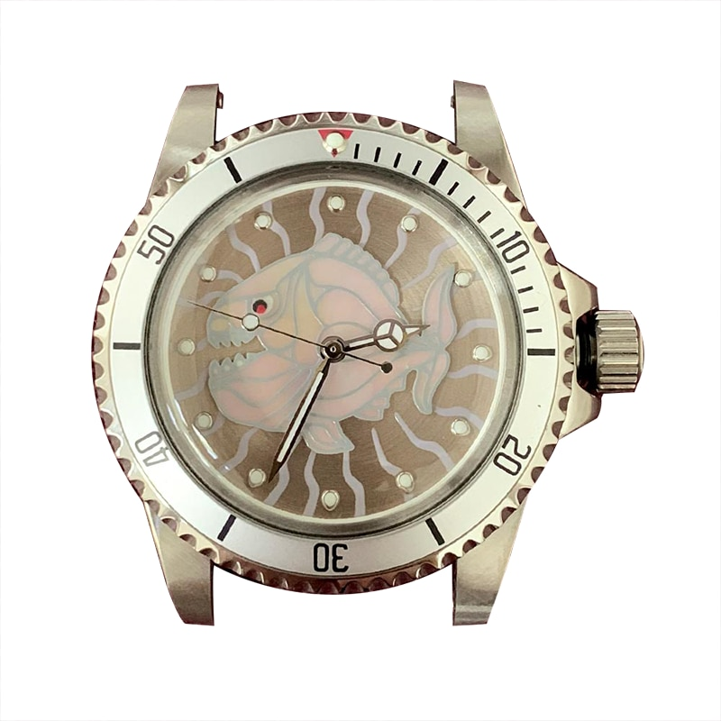 Unique Design Iuminous Fish 39.5mm 316L Stainless Steel Watch Case  Fit For Seiko NH35/NH36 Movement