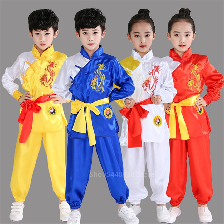 Стандартная форма кунг фу, традиционная китайская одежда для детей, женский костюм Wushu Tai Chi для маленьких девочек и мальчиков, костюм Тан, костюмы для выступлений|Наборы| | АлиЭкспресс