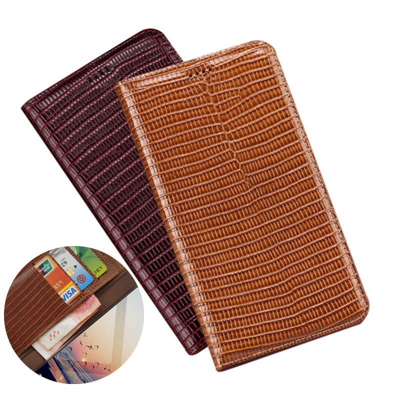 Lizard-جراب محفظة من الجلد الطبيعي مع حامل بطاقات لهاتف Samsung Galaxy S21 Ultra/Galaxy S21 Plus/Galaxy S21