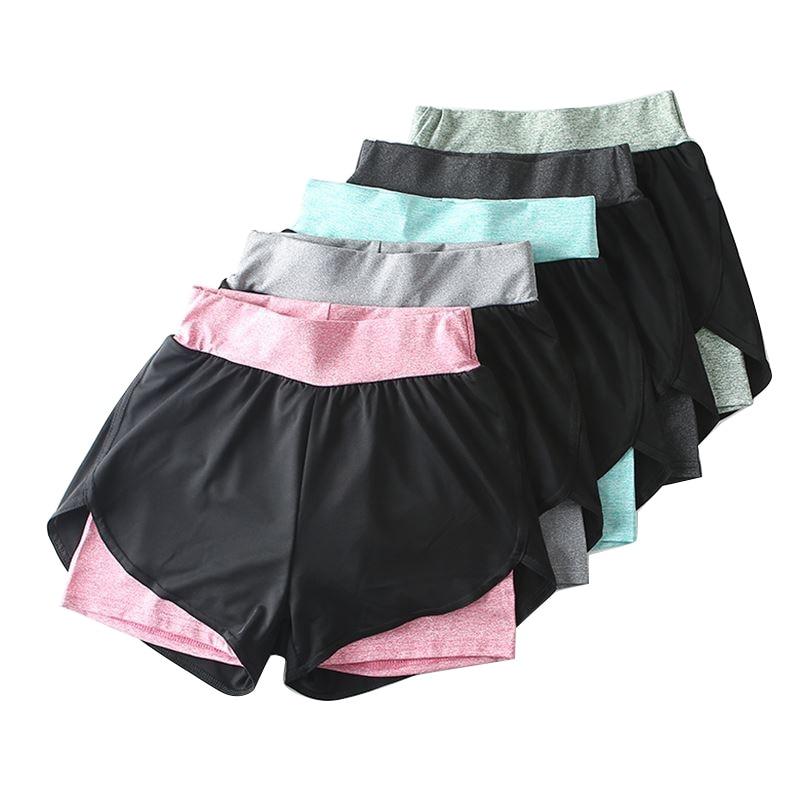 Женские узкие шорты для фитнеса, летние двухслойные шорты, женские эластичные повседневные шорты, женские шорты для бега, женские шорты 2021