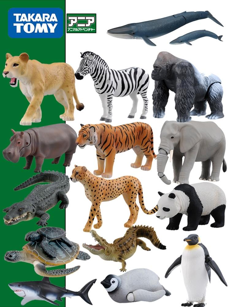 TAKARA TOMY Animal juguete modelo simula tomy salvaje Domo gorila cocodrilo Tigre jirafa gran tiburón blanco juguete
