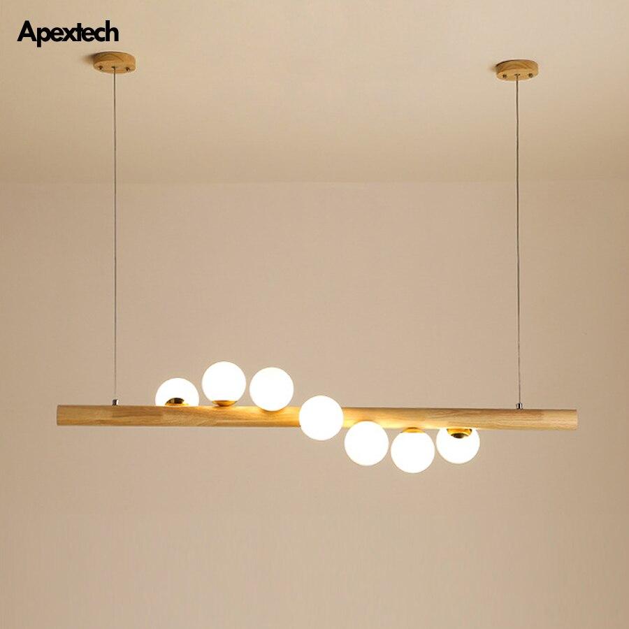 الحديثة الخشب قلادة أضواء دوامة كرات أفقي غرفة الطعام سقف مصباح معلق جزيرة المطبخ تعليق تركيبات الإضاءة