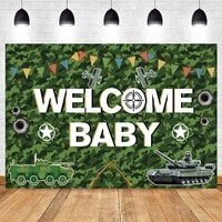 camouflage soldier arms welcome newborn baby shower boy birthday backdrop vinyl photography background photocall photophone prop