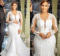 robe de mariee vintage sheer neck lace wedding bridal dresses 2021 beading mermaid plus size arabic aso ebi bride gowns customed