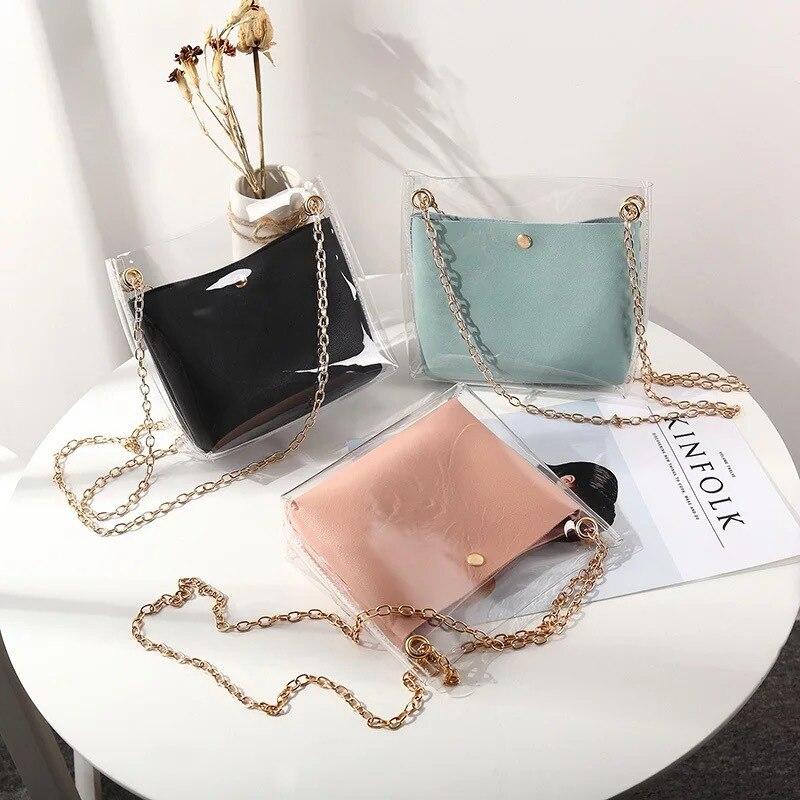 Прозрачная композитная сумка-ведро для женщин, маленькие саквояжи на плечо из прозрачного ПВХ, женская сумочка-мессенджер на цепочке
