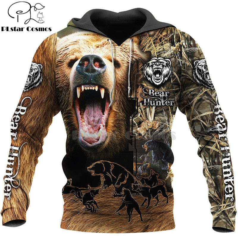 PLstar Cosmos bear HUNTING 3D camisetas impresas Sudaderas con capucha de impresión 3D/sudadera/cremallera hombre mujeres big black bear diseño de arco de cazador Bear-2