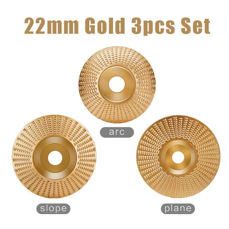 22mm Bore 3pcs Set Wood Grinding Polishing Wheel Rotary Disc Sanding Wood Carving Tool Abrasive Disc Tools for Angle Grinder