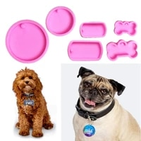 1 set dog tag epoxy resin mold circle round dogs bone keychain pendant silicone mould diy crafts jewelry casting tool