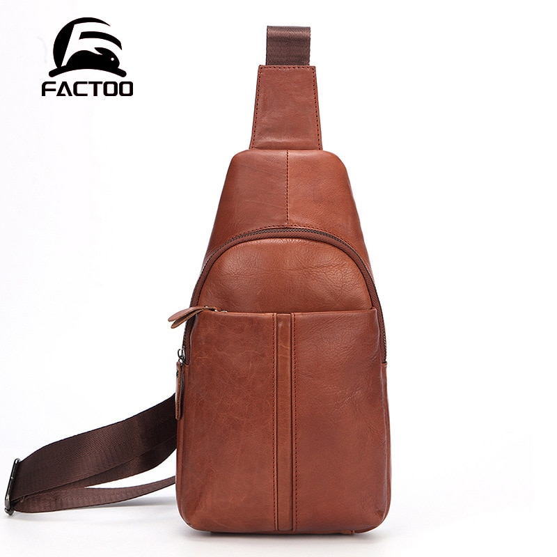 FACTOO Men's Shoulder Bag Outdoor Running Mountaineering Messenger Bag Large Capacity Casual Fashion Leather Chest Bag Student