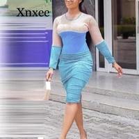 blue women glitter metallic patchwork club party dress long sleeve o neck midi dress sheath streetwear work dresses wedding