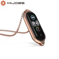 Металлическое ожерелье Mi Band 5, браслет на запястье с подвеской из нержавеющей стали для Xiaomi Miband 4, чехол для Miband 3, браслет Mi 5