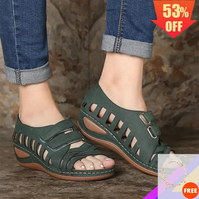 2020 Summer Women Sandals Ankle Closed Toe Sandals Hook Loop Platform Hollow Out Woman Sandal Slip On Bohemia Sandalias De Mujer
