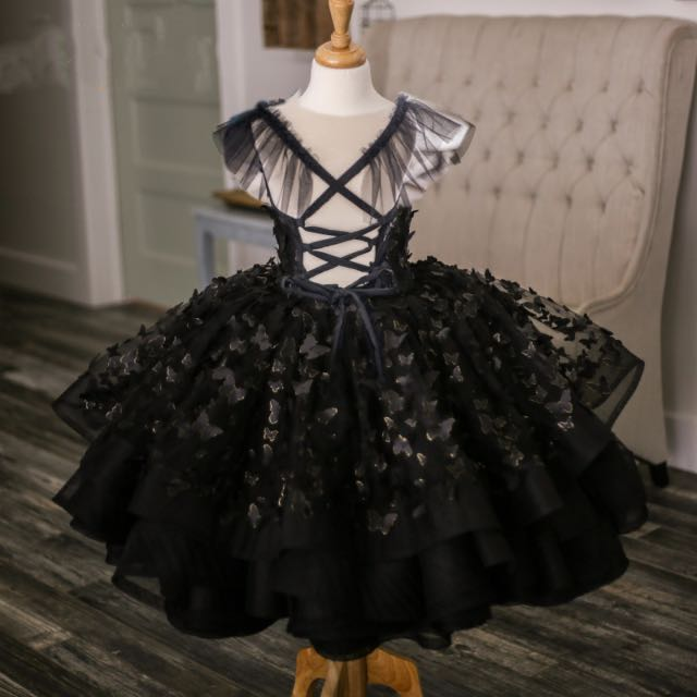 Black Butterfly Applique Girls Gowns Spaghetti Strap Lace Up Back Puffy Dresses Tutu Gowns Girl Ballet Dance Gowns Pageant Gowns