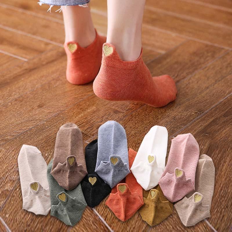 بيع! 1 زوج جديد القلب الجوارب المرأة القطن طباعة الجوارب مضحك لطيف الكورية نمط فتاة الكاحل الكرتون Kawaii قصيرة الأزياء الجوارب