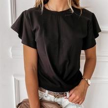 Women cross-border summer solid top flounces short sleeve T-shirt Mujer Tshirts