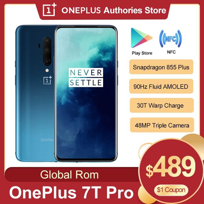 Глобальный Встроенная память OnePlus 7T Pro смартфон 6,67 дюйм 8GB Оперативная память 256 ГБ Встроенная память Snapdragon 855 Plus 90 Гц жидкости активно-матричные о...