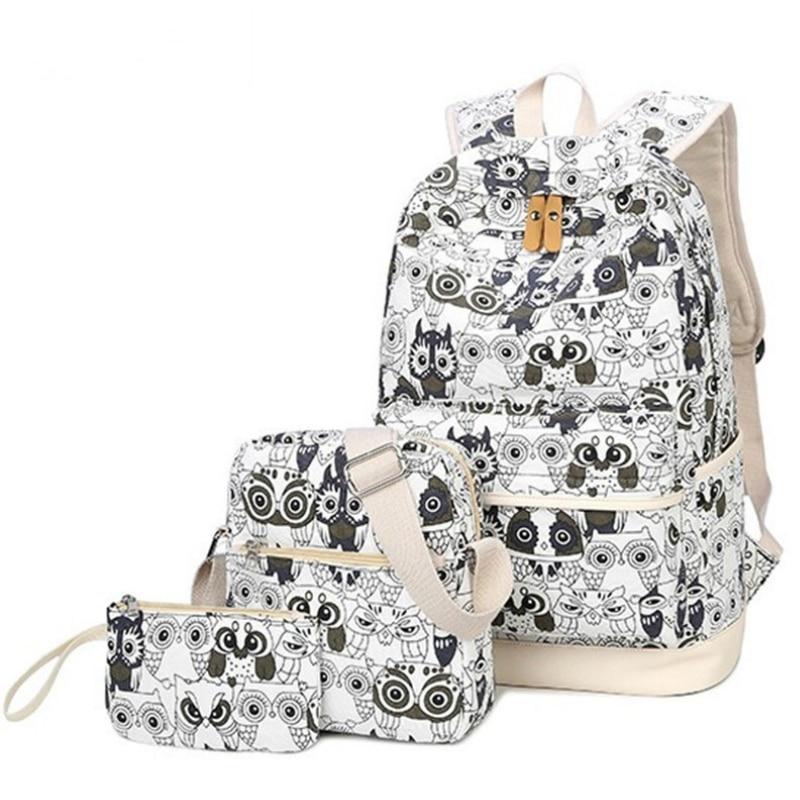 3 unids/set mochila mujer Animal búho impresión mochila lona mochila escolar para libros mochilas bolsas para adolescentes mochila Backbag