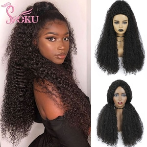 Afro Kinky Curly Wig Synthetic Wigs Long Black Wigs For African American Women Heat Resistant Hair 26 Inches Soku Glueless Wig