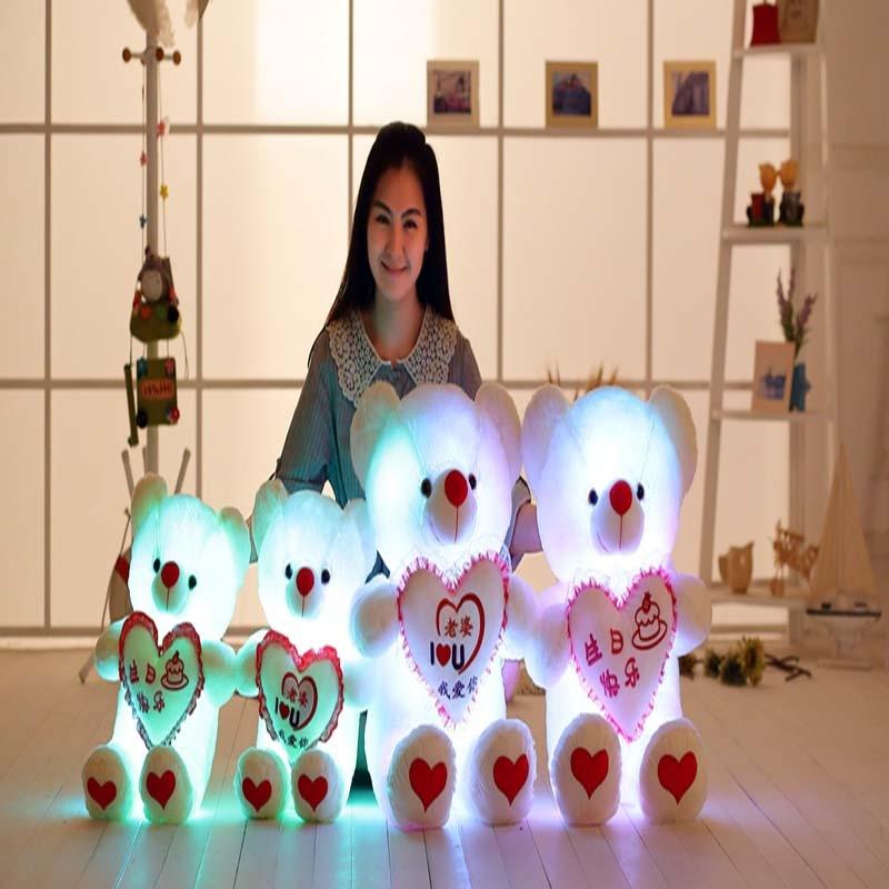 30cm creative light up led teddy bear stuffed animals plush toy colorful glowing teddy bear christmas gift for kids 1 pcs kawaii Light Up LED Cute Teddy Bear Stuffed Animals Plush Toy Colorful Glowing Teddy Bear Christmas Gift Toys for Children