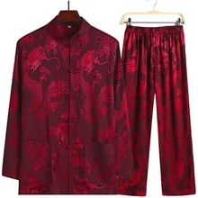 Costume Tang rouge Style chinois   Nouveaux ensembles à manches longues, pantalon Long Dragon Kung Fu, costume en Satin de soie, Wu Shu Tai Chi, taille 4XL