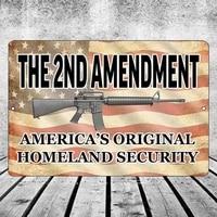 funny pro 2nd amendment metal tin sign wall decor man cave bar americas original homeland security