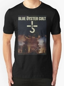 BLUE OYSTER CULT tour date 2018 Mens Black T-Shirt2021 High quality Brand T shirt Casual Short sleeve O-neck Fashion Printed 100
