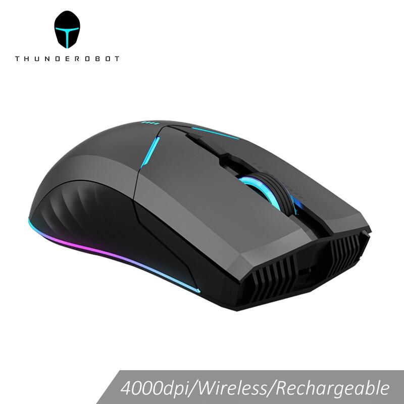 Ratón inalámbrico Thunderobot para videojuegos, ratón para ordenador con retroiluminación LED OMRON, recargable y programable, 4000 DPI