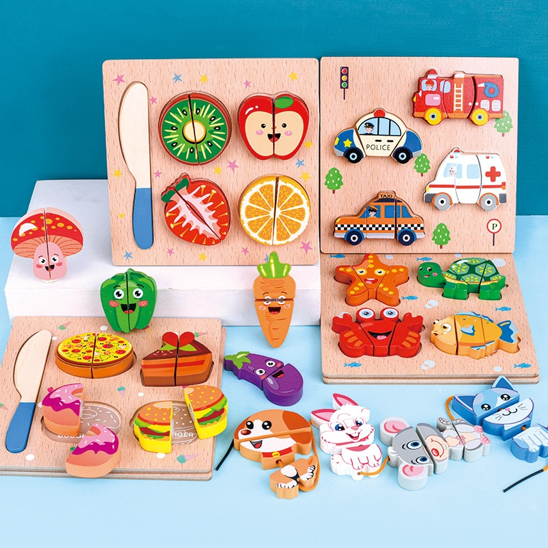 UPINS Wooden Jigsaw Puzzle Kitchen Cut Fruits Vegetables Dessert Kids Cooking Kitchen Food Pretend Play Educational Toys