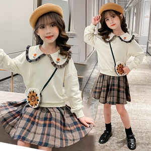 Cute Baby Girls Sets Autumn New Doll Collar Cotton Loose Tops + Pleated Skirts 2pcs Kids Clothes Preppy Style Children Outfits