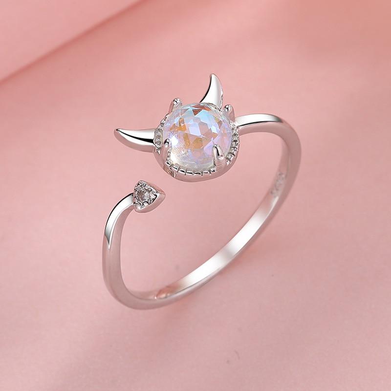 New Fashion Adjustable Open Moonstone Demon Rings Sweet Cute Little Devil Tail Leave Finge Rings For Women Girls Gifts Jewelry