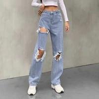 zovsv distressed holes ribbed blue jeans women harajuku fashion straight long trousers ladies streetwear denim pants capris