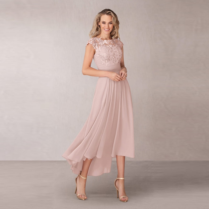 Wholesale Charming Chiffon Blush Lace Cap Sleeve Mother of the Bride Dresses High Low Jewel Neck Ple