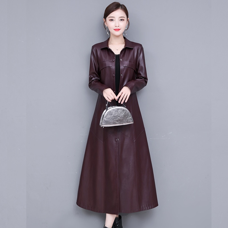 Women Black Pu Leather X-Long Jacket Ladies Faux Sheepskin Single Breasted Trench Coat Plus Size Female Outerwear Windbreaker enlarge