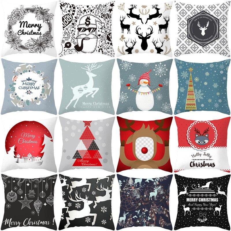 Noël rose motif 45*45cm Polyester housse de coussin taie doreiller décoratif canapé maison voiture jeter doux taie doreiller