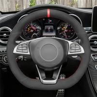 diy anti slip wear resistant steering wheel cover for mercedes benz c200 c250 c300 b250 a200 a250 car interior decoration