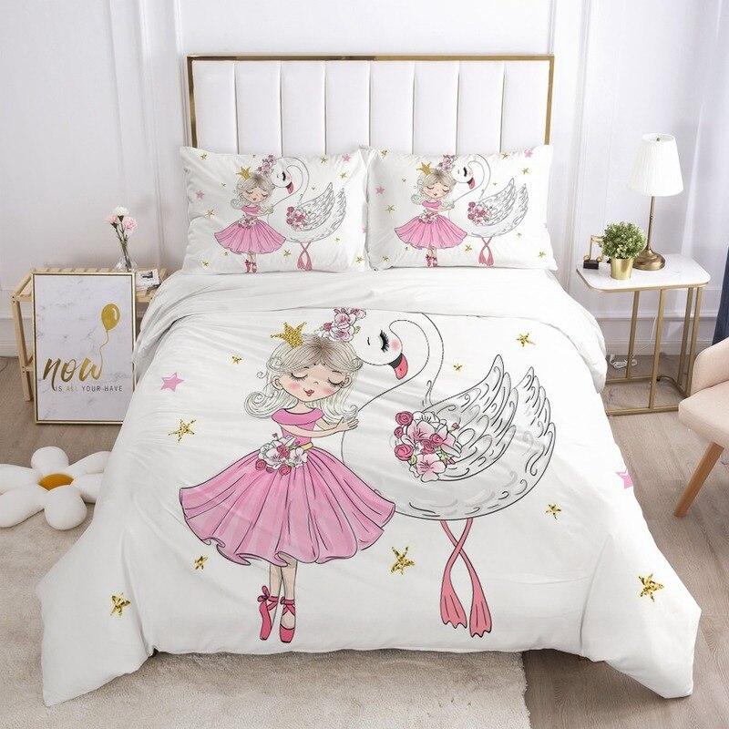 الفتيات الأميرة الكرتون طقم سرير للطفل الاطفال الأطفال سرير حاف مجموعة غطاء المخدة بطانية غطاء لحاف لطيف الكلب الوردي سوان