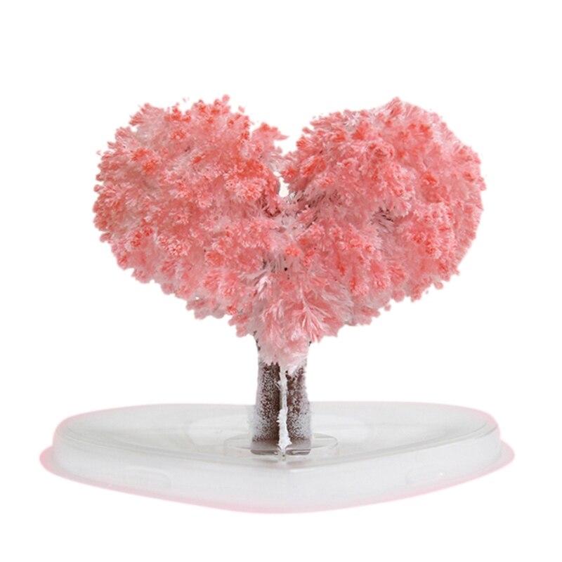 Magic Tree Bonsai Magic Sakura Heart Shaped Paper Tree Blossoming Creative Colorful Magic Tree Growing Crafts Toy