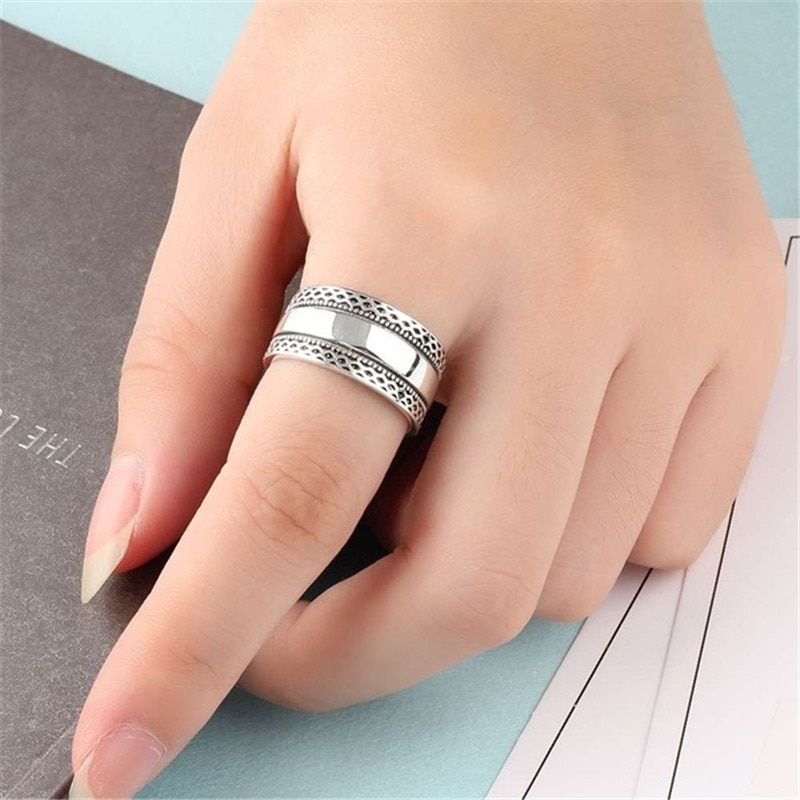 Retro unisex bali redemoinho trançado corda larga banda polegar anel tamanhos 6-10 novo
