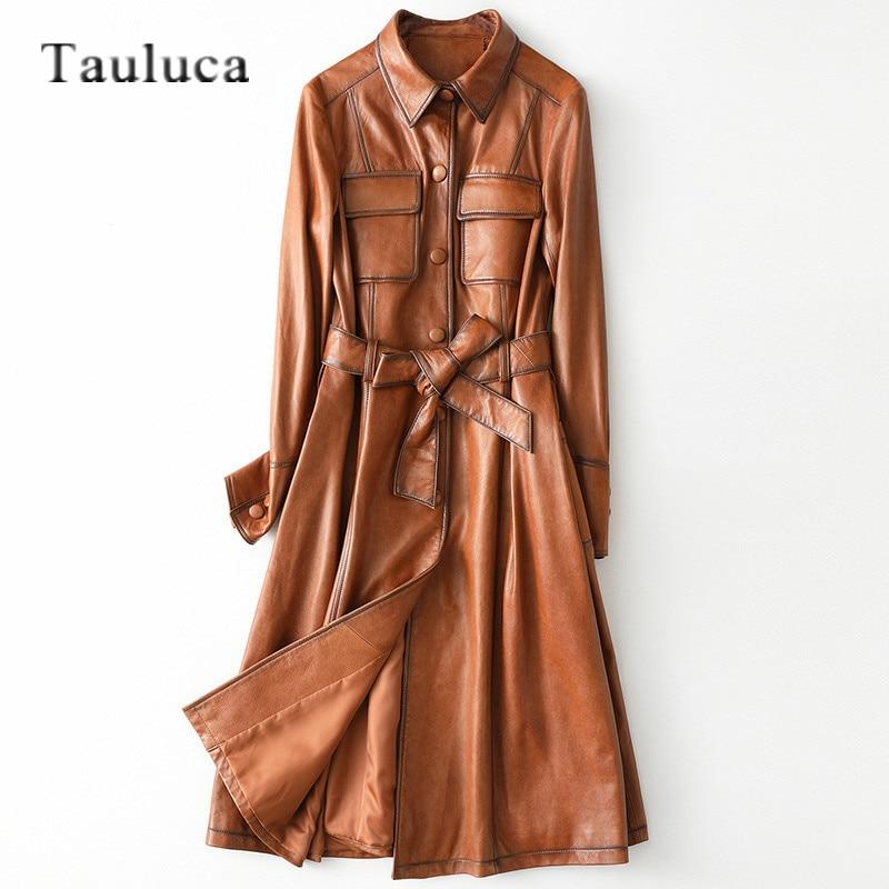 Vintage الفاخرة معطف جلد الغنم الحقيقي السيدات سترة جلدية حقيقية مع حزام حجم كبير خندق معطف المرأة سترة واقية معطف طويل