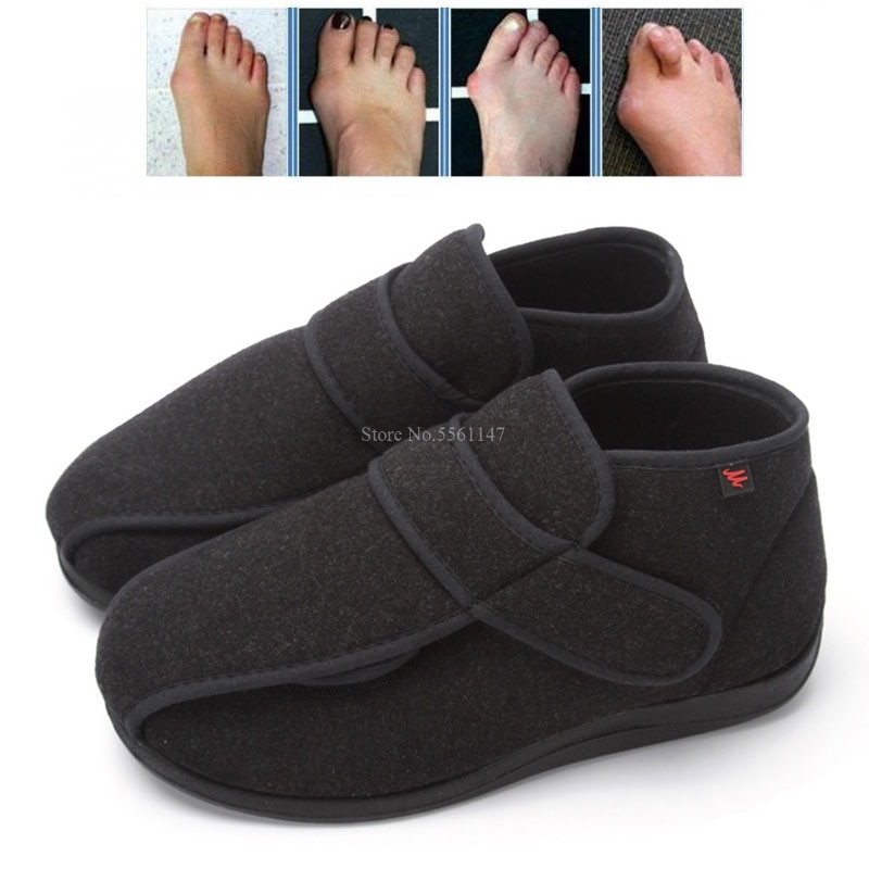 Diabetic Thumb Eversion Deformation Adjustable Fat Feet Flat Shoes for Men Corrector Therapy Braces Supports winter keep warm