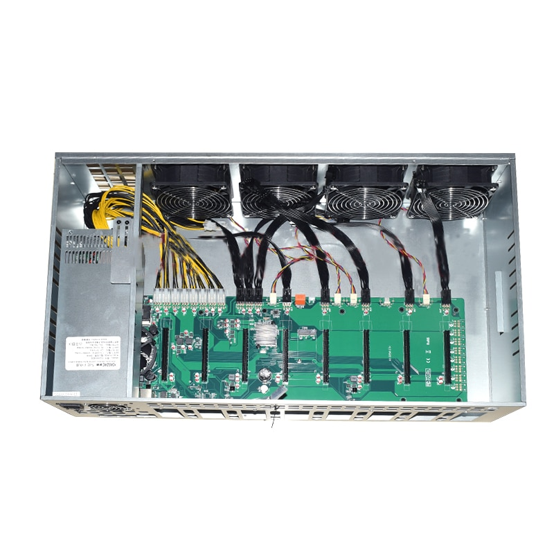 NEW 8 GPU ETH Mining platform B85 Motherboard 65MM Card distance Thickened Electrolytic Board Chassis 2000W Power Supply