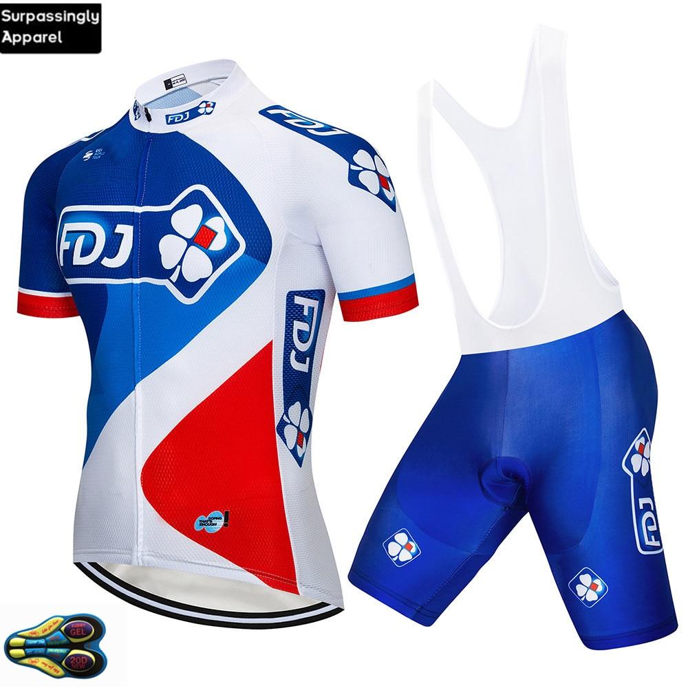 2019 azul FDJ ropa para equipo de ciclismo 20D Gel Pad Shorts Set bicicleta Jersey hombres secado rápido bicicleta desgaste verano Camisetas de ciclismo profesional
