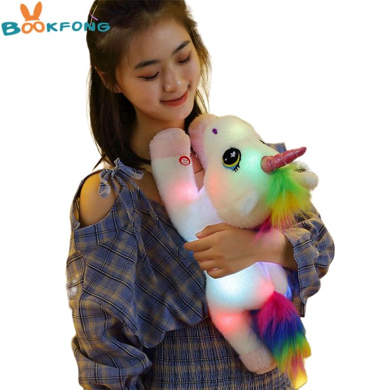 45cm LED Unicorn Plush Toys Light Up Glowing Unicorn Stuffed Animals Horse Toy Soft Doll Cute Kids T