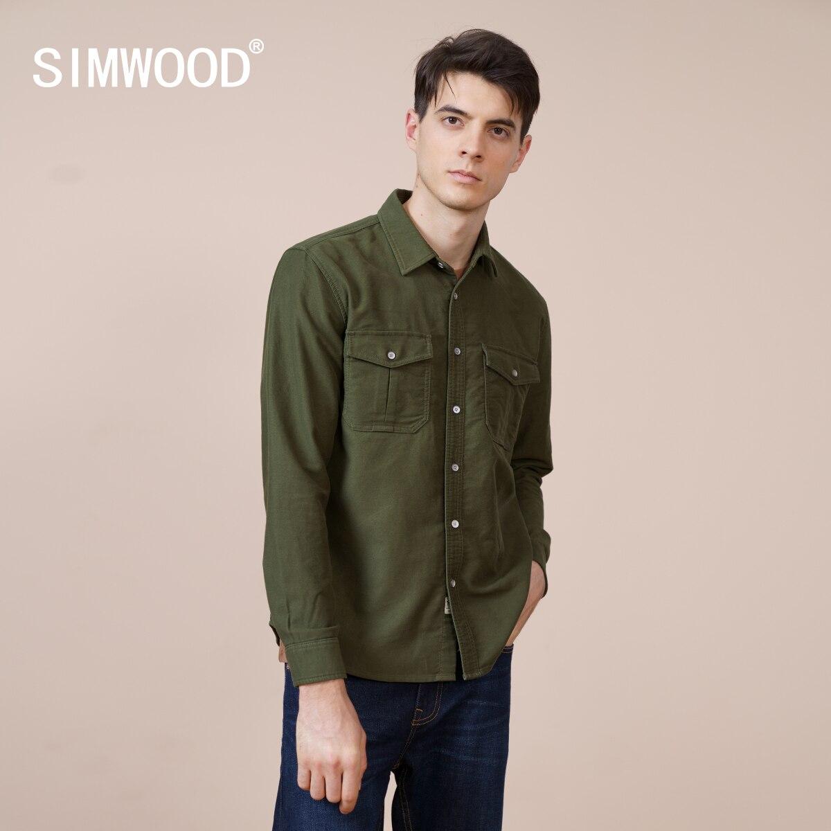 SIMWOOD-قميص كارغو غربي 2021 قطن للرجال ، مقاس كبير ، ملابس ذات علامة تجارية عالية الجودة ، مجموعة ربيع جديدة 100% ، SK130175