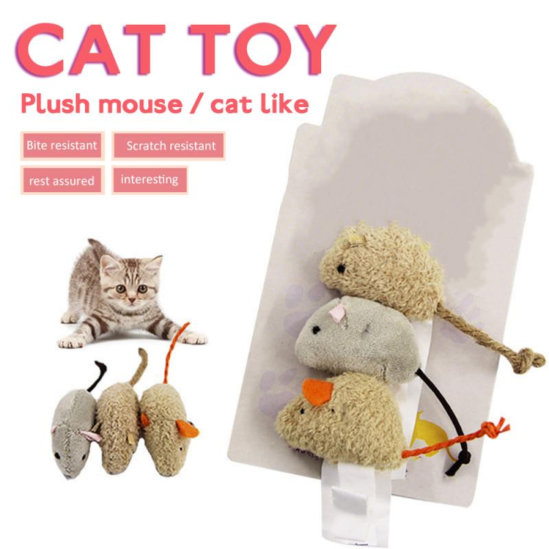 Nuevo paquete de 3 unidades de peluche de cola de Falso largo, ratón, rata, chillón, sonido de ruido, mascota, perro gato gatito, juguete interactivo