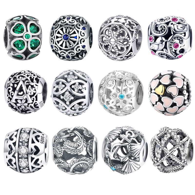 Abalorios Retro BISAER de Plata de Ley 925 con forma de trébol, corazón, amor, rosa, colgante de corazón, abalorios aptos para pulseras originales, regalo de joyería para mujer